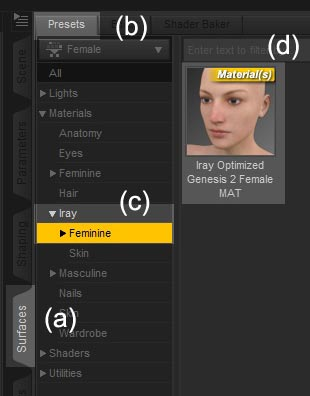 Screenshot of how to locate and apply the Iray shader for Genesis 2 Females.