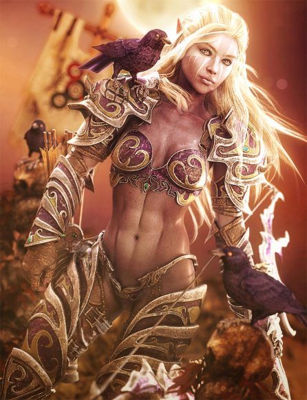 White haired dark elf warrior woman in armor and with large bow. Crows and skulls in background. Fantasy woman art. Daz Studio image.