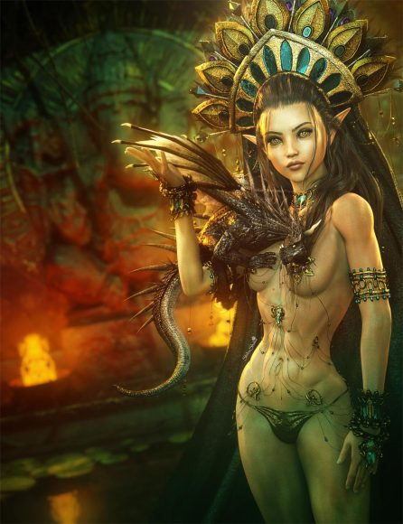 Sexy and beautiful gold goddess with headdress and a black dragon on her arm, standing in a temple. Fantasy woman art. Daz Studio Iray image.