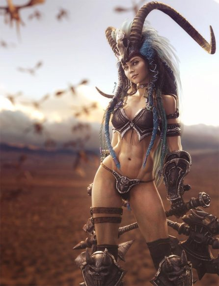 Sexy barbarian girl with horns and two large axes. Fantasy woman art. Daz Studio Iray image.