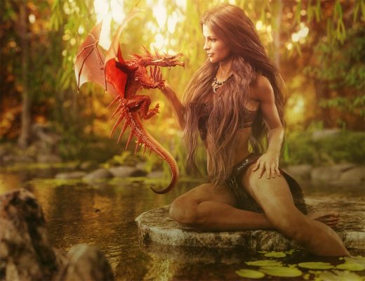 Fantasy woman sitting on a rock in a lake, tickling the neck of a red dragon. Trees, woods, and nature. Fantasy 3d-art.