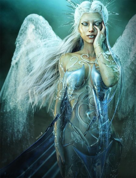 Ice Angel Woman Fantasy Art with white hair and ice wings.