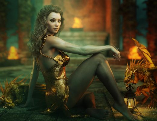 Fantasy woman art with gold dragons. Fire burners and temple in the background. Daz Studio dynamic cloth (dForce) Iray render.