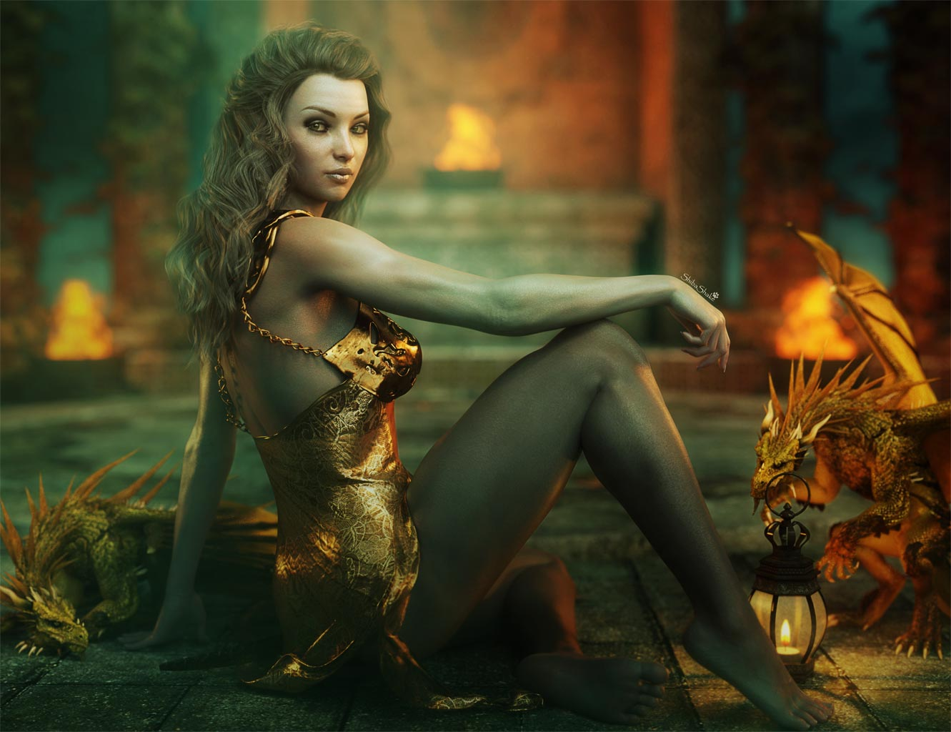 dragons and nude women fantasy art