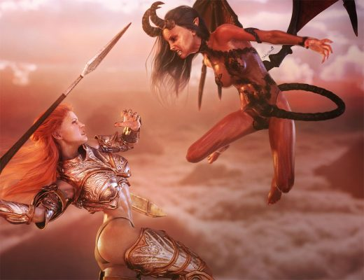 A red-head woman knight is fighting in the clouds with a flying, horned, devil girl. Epic battle of good and evil.