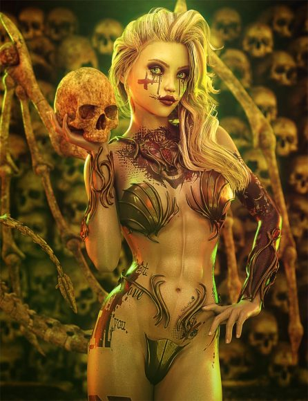 Gothic sexy woman with blonde hair holding a skull with a wall of skulls. Fantasy woman art with bone wings. Daz Studio Iray image.