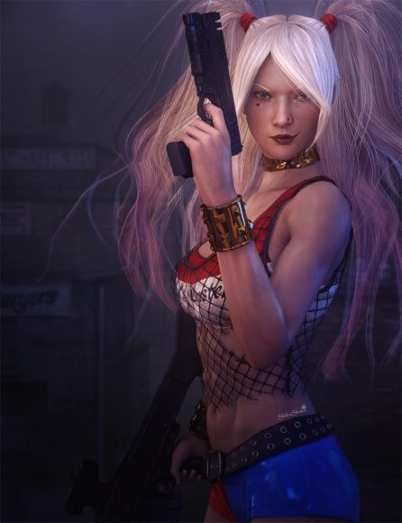 Harley Quinn character from Warner Bros. Pictures' Suicide Squad. She is holding a large machine gun with her right hand and a pistol with her left.