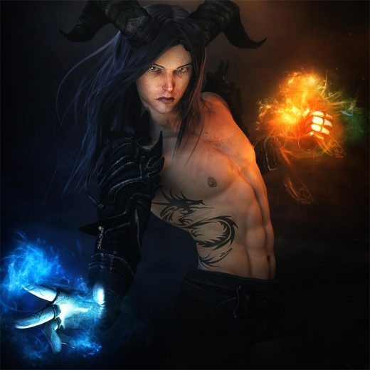 Male wizard with horns and dark armor casting a cold and hot spell. Featuring Kenji 7 from Daz3d.