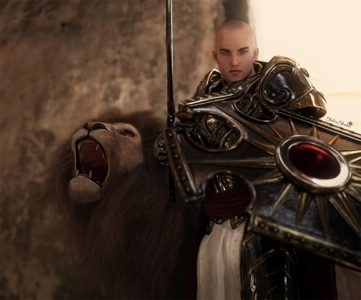 Knight in paladin armor holding a sword and shield, standing next to a roaring lion.