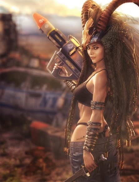 Post-apocalyptic tribal woman warrior with horn headdress and rocket gun.  Ruins in the background. Sci-fi fantasy woman art. Daz Studio Iray 3D-image.