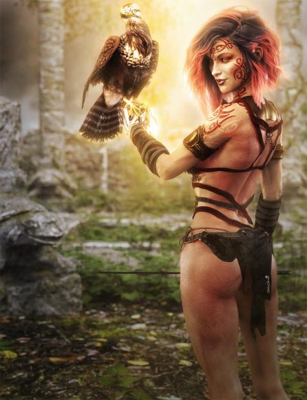 Red haired fantasy girl art. Victoria 8 in a Temple with a Sword and a Bird Daz Studio Iray, 3D-Art.