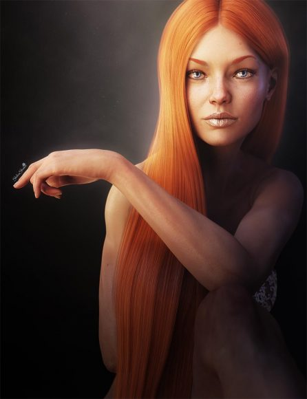 Portrait of a redhead woman with blue eyes. She is sitting with her arm resting on her knee. 3D-art by ShibaShake.