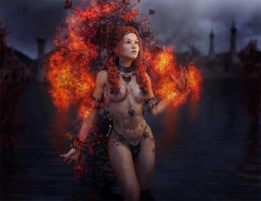 Red-haired fantasy girl with a burning headdress standing in a lake. Ruins in the distance.