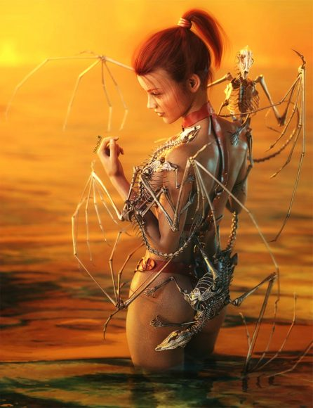 Redhead girl standing in water with skeleton dragon wraiths on her body. Sunset backdrop. Fantasy woman art. Daz Studio Iray image.