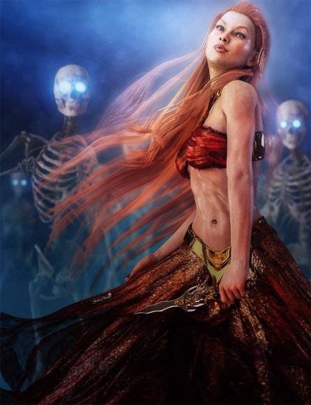 Redhair fantasy woman with red dress and an army of skeletons.