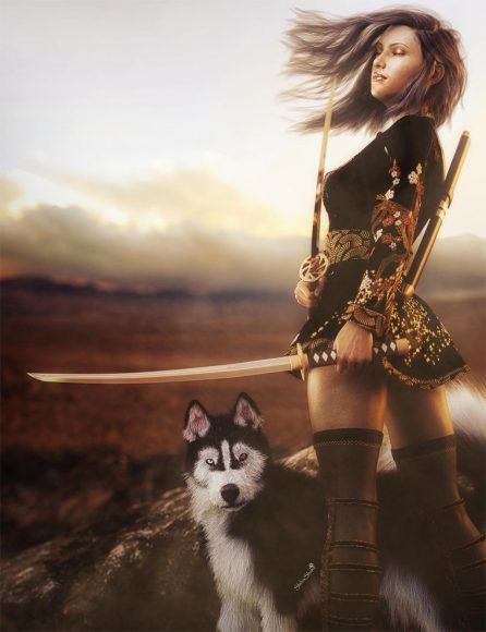 Samurai Asian woman with two swords standing in the wind with blowing hair and a cute Husky dog.