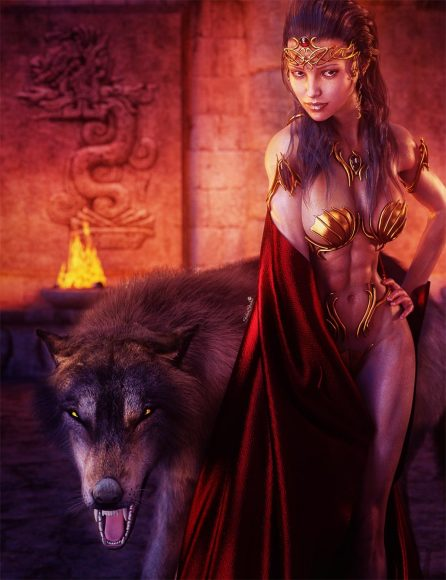 Sexy dark haired girl in gold armor and red satin cape, standing next to a large black dire wolf. Burning brazier in the temple background.