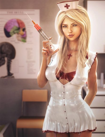 Cute blonde nurse with large needle in a doctor's office. Fantasy Woman Pin-up Art. Daz Studio Iray image.