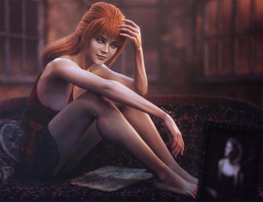 Sexy red-haired woman sitting on a love-seat. Fantasy Woman Pin-Up 3D-Art. Daz Studio Iray image.