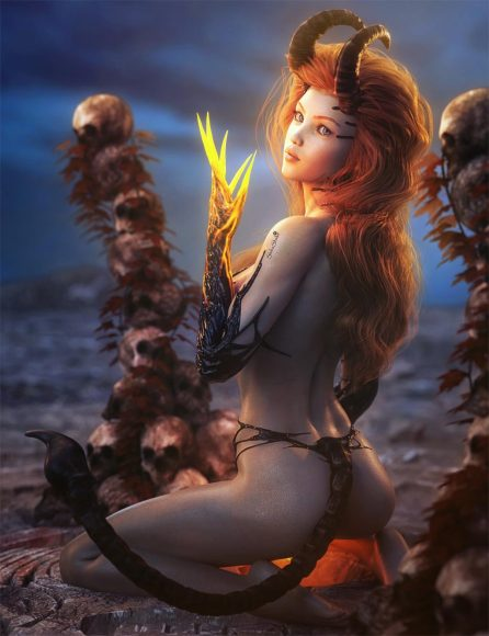 Sexy devil demon girl with glowing hands, horns, and demon tail, kneeling on the ground. Skull spires around her. Fantasy woman art. Daz Studio Iray image.