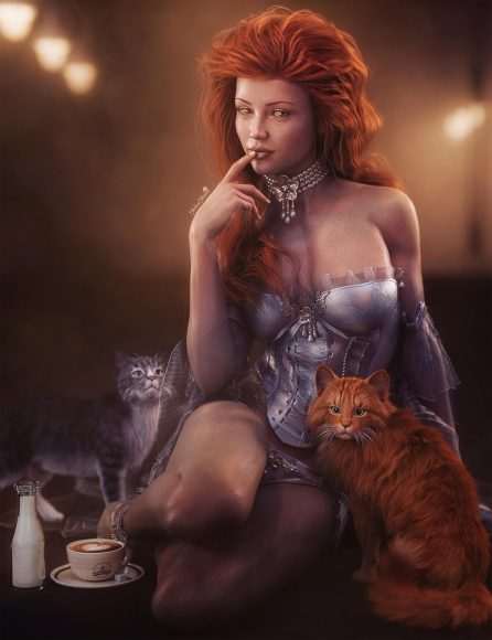 Sexy red haired woman pin-up sitting with two cats. Cream and coffee at the side. Fantasy art picture.