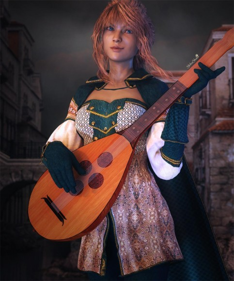Girl in medieval costume, playing a lute.