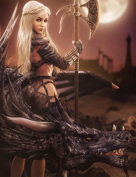 White haired black dragon warrior with axe. Daenerys Targaryen Game of Thrones fan-art. Fantasy Woman Art. Daz Studio Iray image.