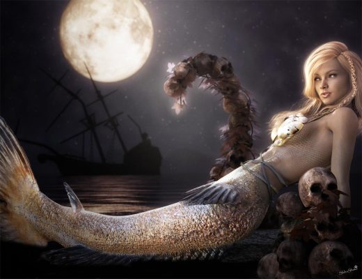 3d-art of a white-haired fantasy mermaid girl sitting next to some skulls under a moonlit night sky. There is a shipwreck in the background.