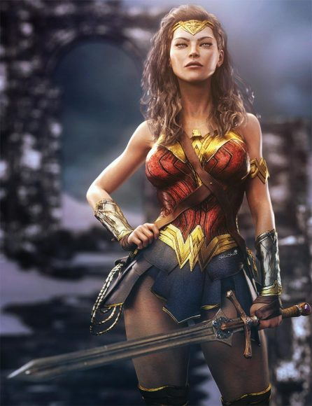 New DC Comics Wonder Woman with large sword. Winter ruins in the background. Fantasy Woman Fan-Art. Daz Studio Iray image.