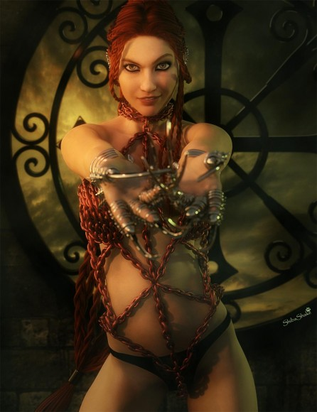 Attractive woman (bad girl) in chains and claws, bidding the viewer to follow.