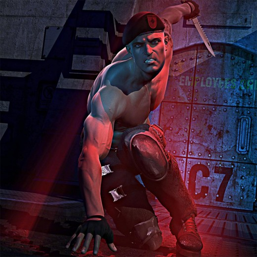 Soldier in an action crouching pose, holding a knife. Mix of saturated blue and red volumetric light.