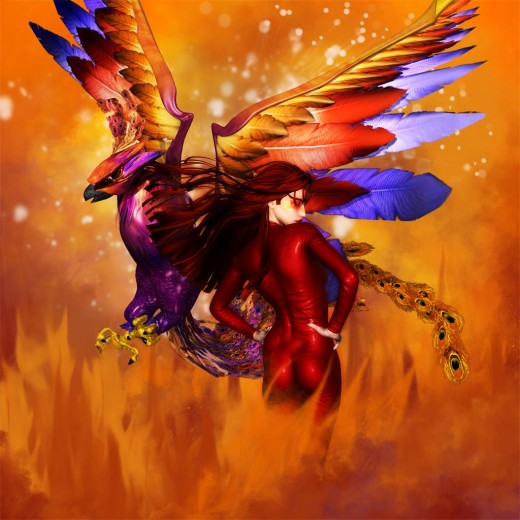 Woman in red with long red hair, with a Phoenix. Fire background.