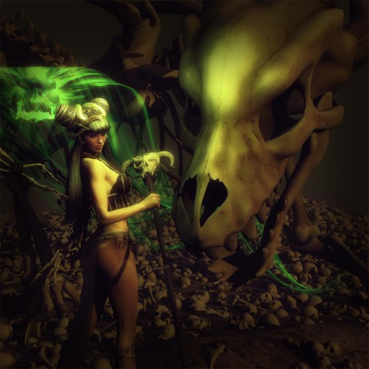 Large bone dragon standing next to a woman or girl necromancer holding a skull staff. Green swirling phantoms around her and bones on the ground.