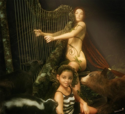 Woman playing a wood harp, while a girl and animals sit at her feet.