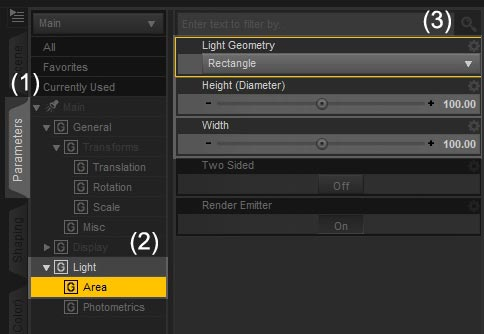 Screenshot of a spotlight's Light > Area parameters.