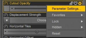 Screenshot of how to get the Parameter Settings pop-up for our hair Cutout Opacity parameter.