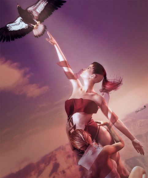 Girl reaching upward for a flying bird (signifying knowledge, dreams, or more) while another holds her down to earth.