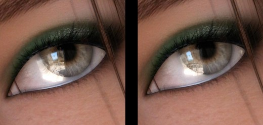 Comparison of two eye renders. The one to the left has more reflection and is more shiny than the one to the right.