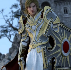 Blonde knight in Luthbel's Paladin for G2M armor, with sword and shield. Castle in the background.