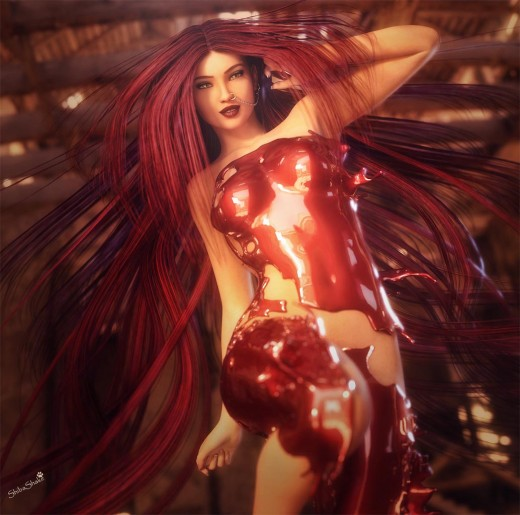 Girl with long red hair,  shiny eyes, and red paint on her body, doing a dance.