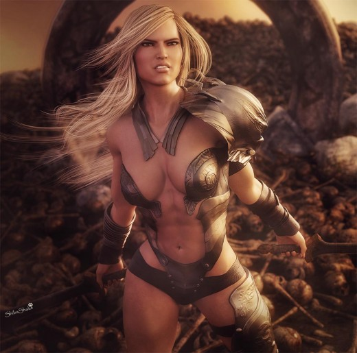 Victoria7 wearing the Fury armor for V4, and SAV Eirene hair also for V4. Warrior princess is holding two sword, on a landscape that is littered with skulls and bones.