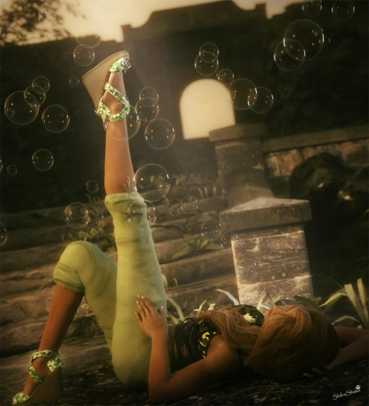 Girl in green with one of her legs up and bubbles all around her. Stonemason's Path to Cloud Temple used as backdrop.