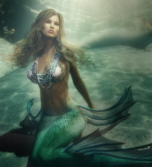 Underwater mermaid with fake caustics from a Gobo light.