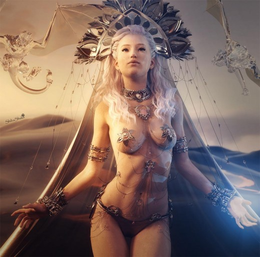 Water Goddess image with high contrast fantasy lighting, wet body specular maps, water dragons, and ocean.
