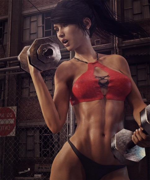 Woman exercising with two weights and covered in sweat. Daz Studio Iray render.