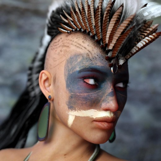 Native American portrait using Octanerender, Daz Studio 4.8 Pro, and Raven Mohawk Hair by Arki.