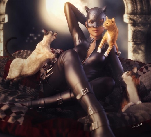 Catwoman sitting on a papasan chair with several cats around her. Moon in the background.