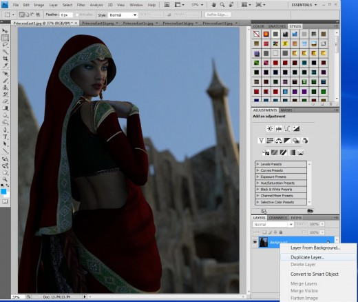 Screen-shot showing how I have opened all my light files in Photoshop, and how I start by duplicating my IBL layer.
