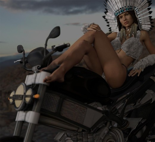 Screen-shot of motorcycle pin-up girl image after adding IBL and Key lights.