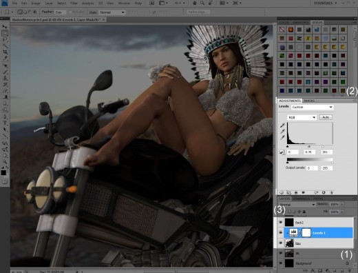 How I create greater contrast between the left and right sides of the face of my motorcycle pin-up girl.